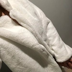 Faux vegan fur white medium length stylish coat